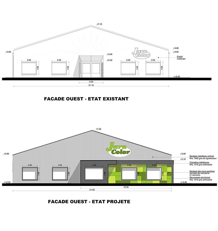 Extension et rénovation thermique d'un bâtiment industriel et commercial à Arbois